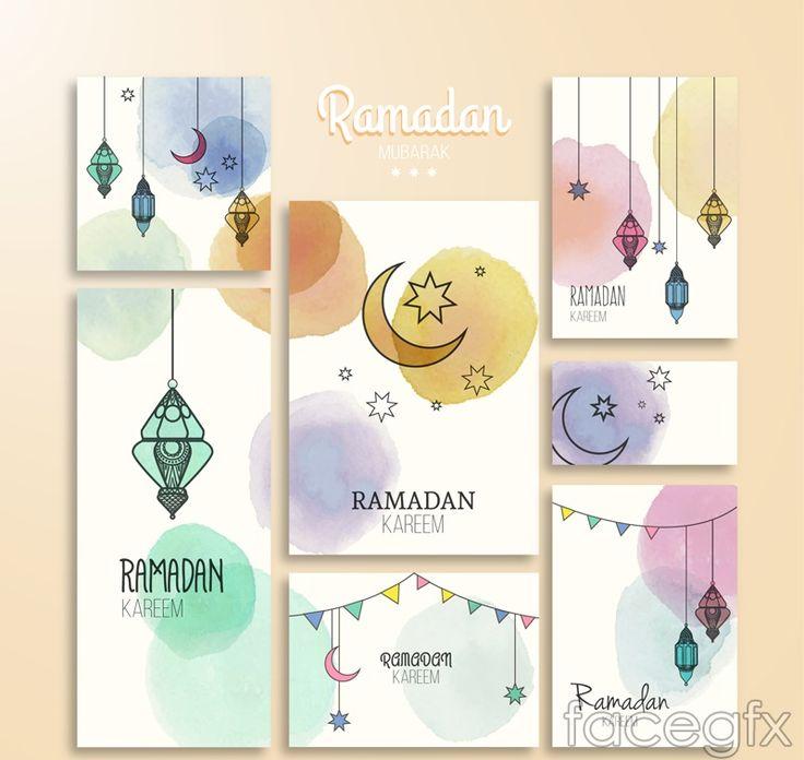 7 watercolors Ramadan card vector