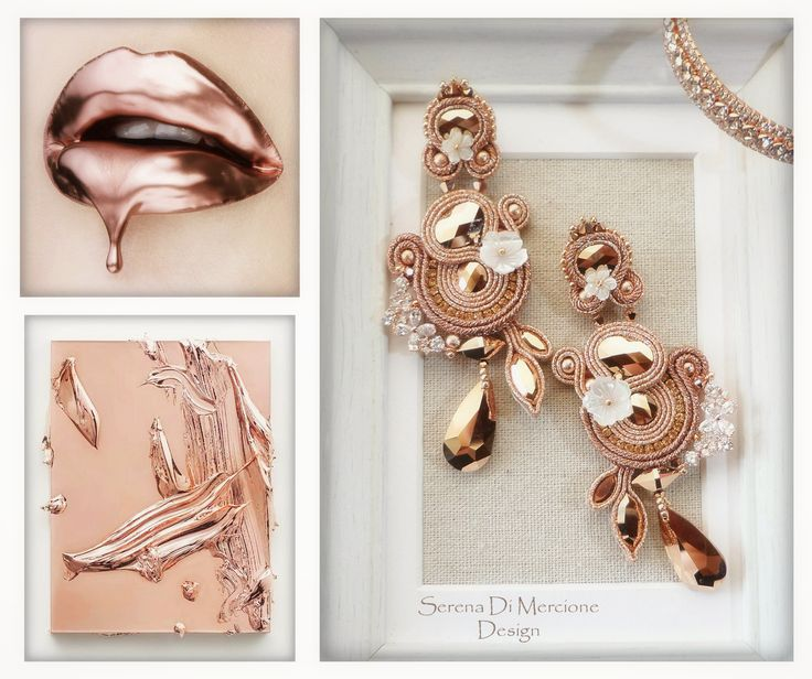 Soutache Earrings by serena Di Mercione - rosegold