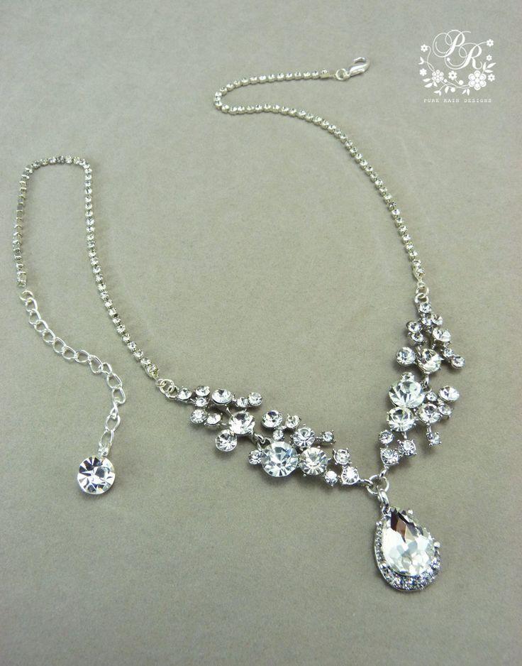 Wedding Necklace teardrop rhinestone pendant Bridal Necklace Wedding Jewelry Wedding accessory