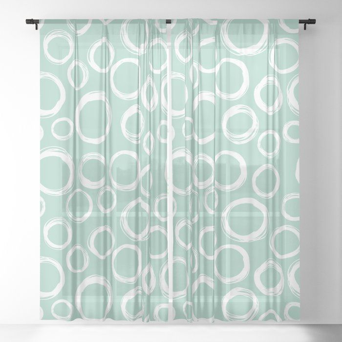 Mint Green Window Curtains With White