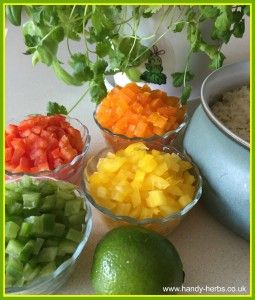 Having a range of colours to add to this simple Summer Rice Salad helps to make it healthy. Adding fresh coriander adds further nutrients. A simple recipe for children to help make.