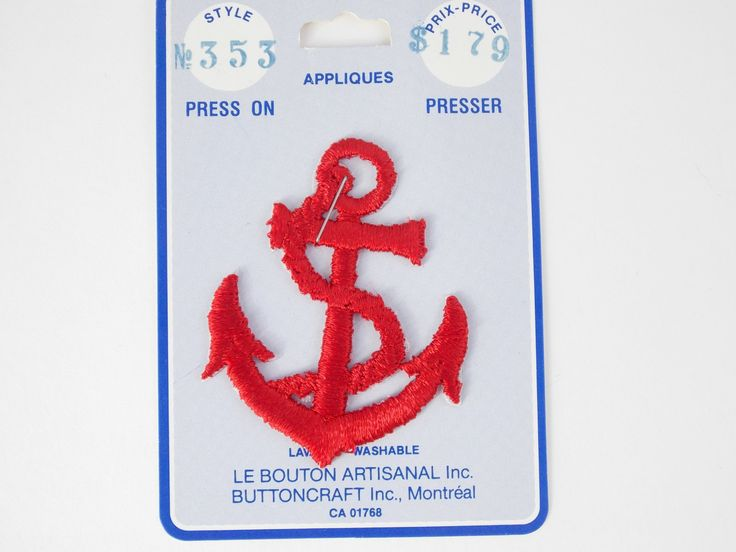 1 Vintage press-on applique , anchor press-on badges, marine patch, sewing supplies, embellishment, nautical badges, press-on patch. by LeVieuxGrenier on Etsy