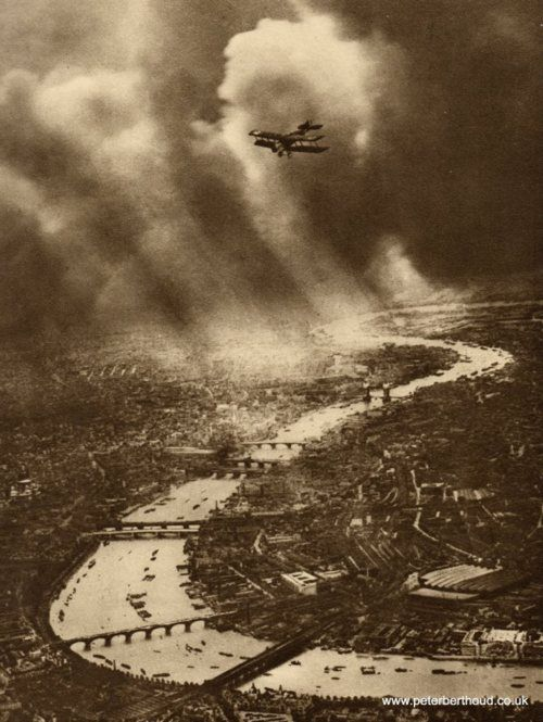 Aerial view of London and the River Thames, 1930's