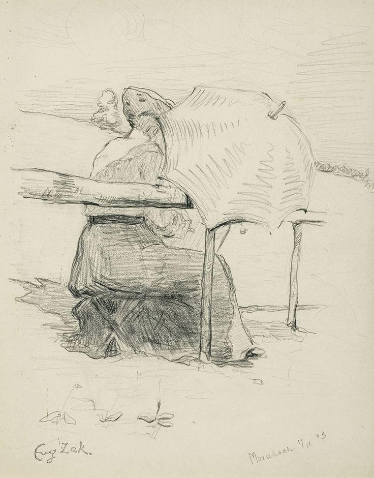 Eugeniusz Zak: Malarka nad wodą, 1903 r., ołówek, papier, 20,8 x 16 cm