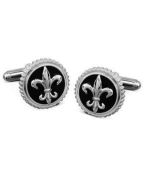 Men's Titanium and Black Enamel Cuff Links, Fleur De Lis Cuff Links - Belts, Wallets & Accessories - Men - Macy's