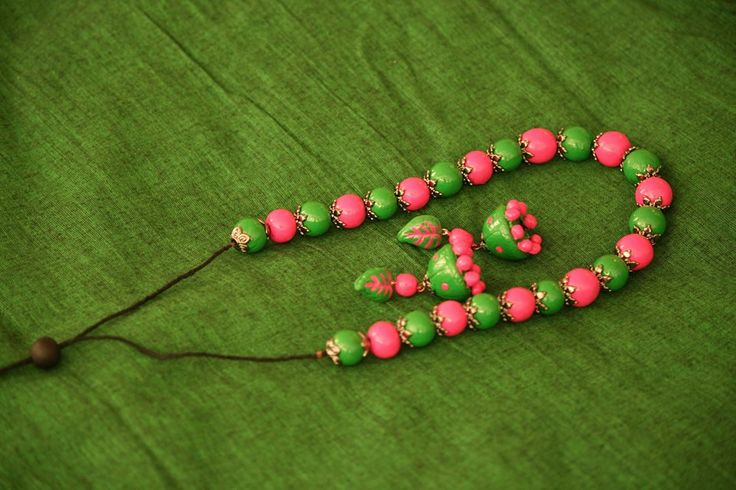 Pink and Green Polymer Clay necklace with Jhumkas