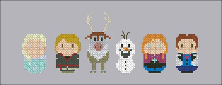 Frozen - Cartoons - Mini People - Cross Stitch Patterns - Products
