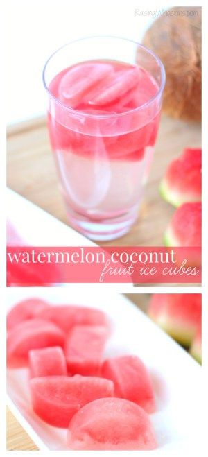 Watermelon Coconut Fruit Ice Cubes
