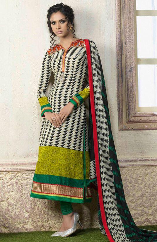 USD 32.91 Multi Color Pure Crepe Pakistani Style Suit 54314
