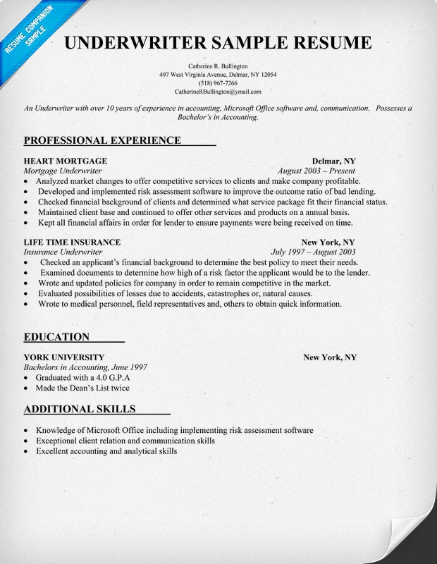Underwriter Resume Sample Resume Samples Across All