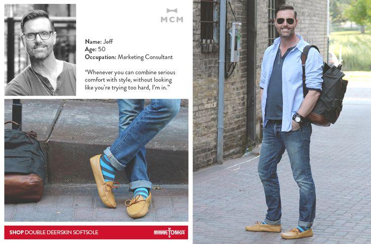 Minnetonka + Mill City Men:  Jeff wearing his Double Deerskin Softsoles