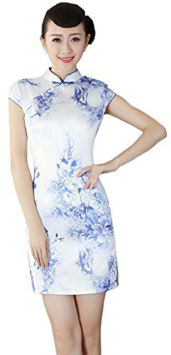 Smile YKK Lady Chinese Classic White Blue Floral Short Qipao Gress Asia M bust 86cm. Material:Faux Silk Satin. High neck,Short sleeve,zipper,good elastic. Delicate flower print design,show the beauty figure and unique temperament to people. Retrieved from traditional Chinese art, fine with Chinese culture. Suitable for spring, summer, autumn and winter season on those party, evening and wedding.