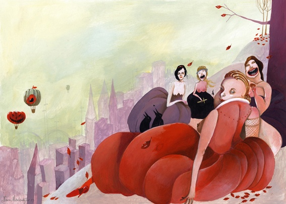 Snow white and her friends, illustration by Nanne Meulendijks. Acrylic on paper 420 x 297 mm. - sold-
