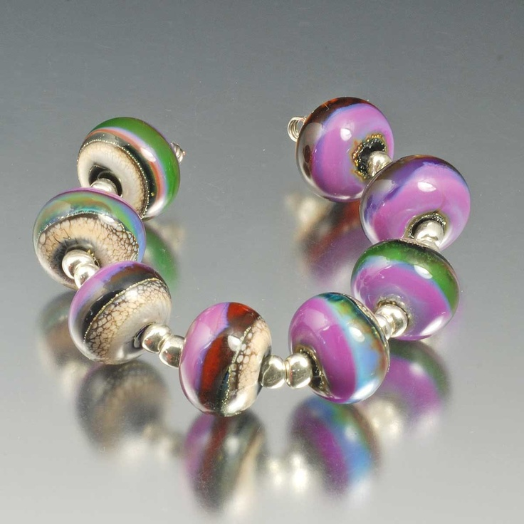 organic silver glass lampwork beads silvered by