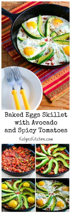 Baked Eggs Skillet with Avocado and Spicy Tomatoes is an easy breakfast that's…