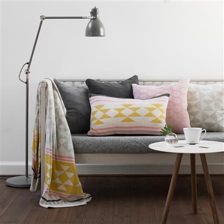 Iben Knit Cushion, 38x58cm, Yellow