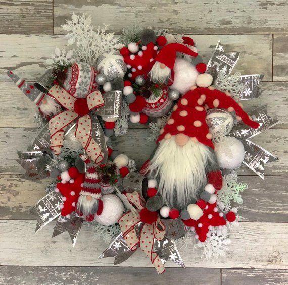 Gnome Christmas Wreath, Gnome Wreath, Holiday Wreath