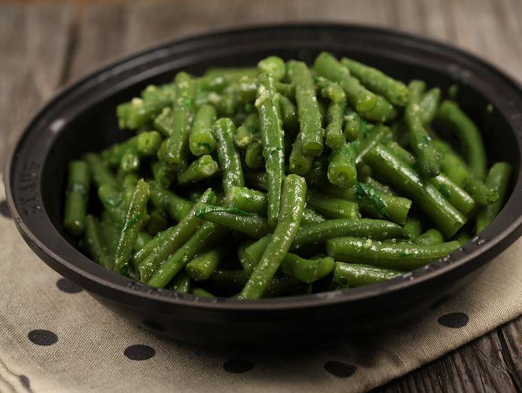 400 gr fasole verde, 2 catei de usturoi, 1 lingura...