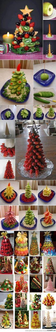 30 fruit & veggie Christmas tree ideas // Clean Food Living #diy #healthy