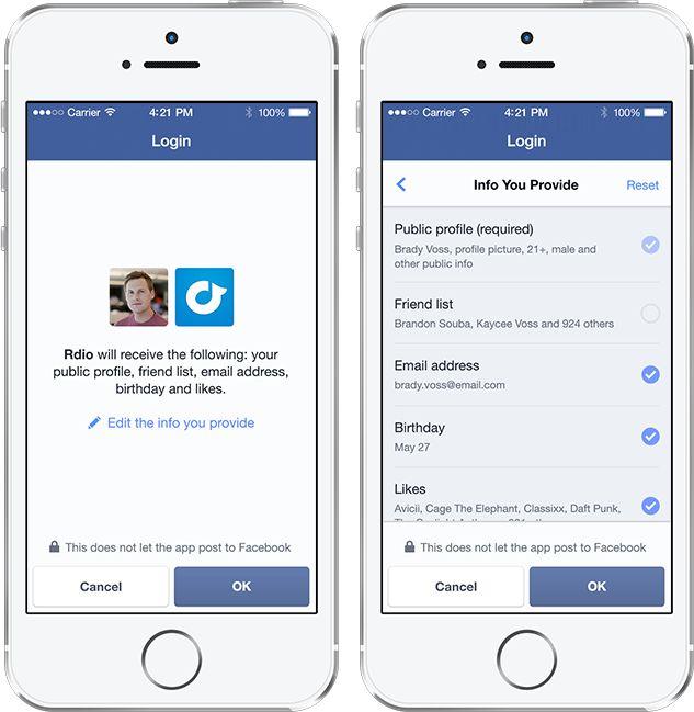 Facebook login screenshots