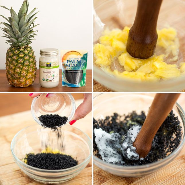 Lava sea salt + pineapple + coconut oil = DIY exfoliant and deep cleaning face scrub.