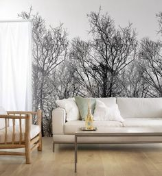 Tapete! Wood 2483 Vlies Tapete Wandbild Foto Bäume Schwarz Weiß Digital Art