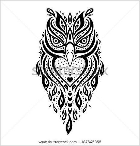 Owl Tribal pattern Polynesian tattoo Vector illustration