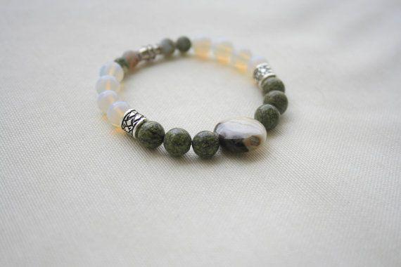 Natural Gemstone Bracelet  Jade Opal Amazonite Agate by KirkeCraft
