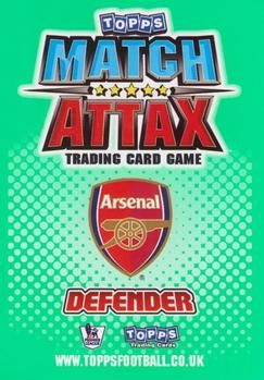 2010-11 Topps Premier League Match Attax #2 Bacary Sagna Back