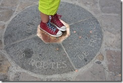 Look for the '0' mark in front of the cathedral of Notre Dame (Metro Saint Michel). This shows the starting point of the mileage from Paris to the other French cities.