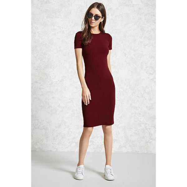 Forever21 Stretch-Knit T-Shirt Dress (€12) ❤ liked on Polyvore featuring dresses, burgundy, t-shirt dresses, knee length dresses, burgundy dress, short sleeve knee length dress and tee dress