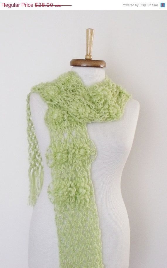 ON SALE Light Green Daisy Scarf-Ready For Shipping by knittingshop