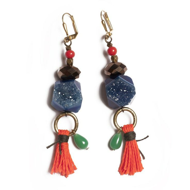 Druzy stones, beads and tassle earrings