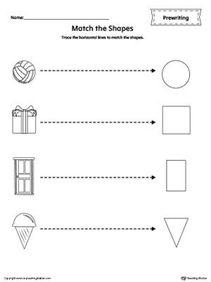 Shapes Line Tracing Prewriting Worksheet Worksheet.Trace the horizontal lines to match the shapes in this  printable worksheet.