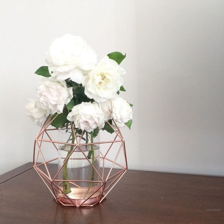 diy geo candleholder spray painted copper/rose gold with glass vase inside                                                                                                                                                      More