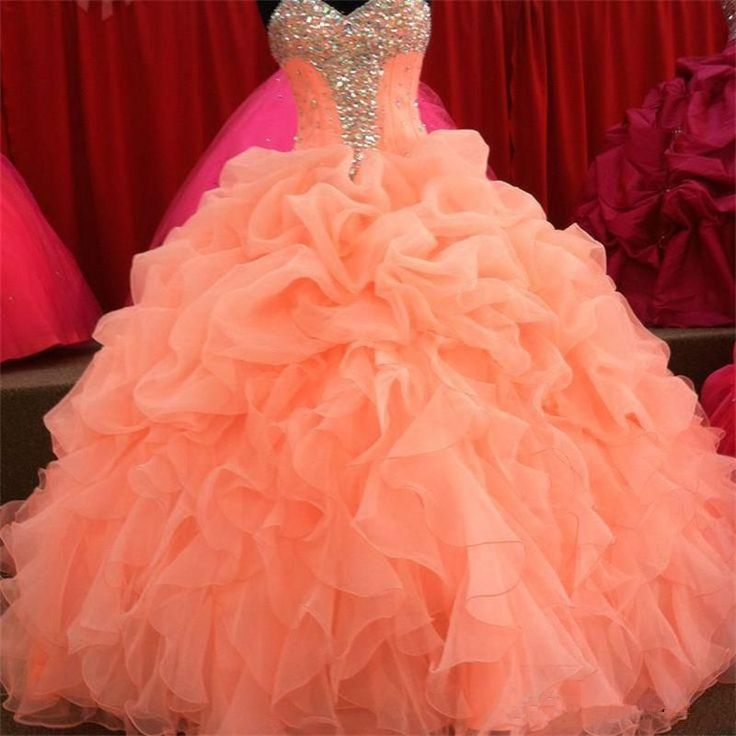 2016 New Christmas Coral Quinceanera Dresses Ball Gown with Lace-Up Beaded Floor…
