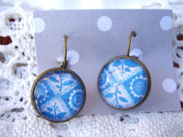 Antiqued bronze medieval tile design earrings £6.00