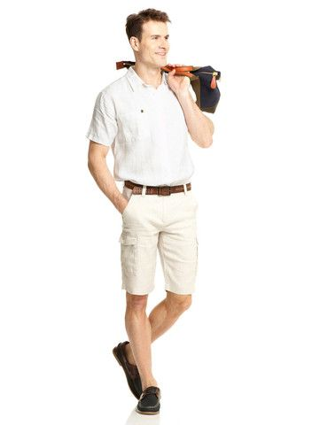 Mens Grey Linen Cargo Shorts | Mens Travel Clothing | Gerald Webster