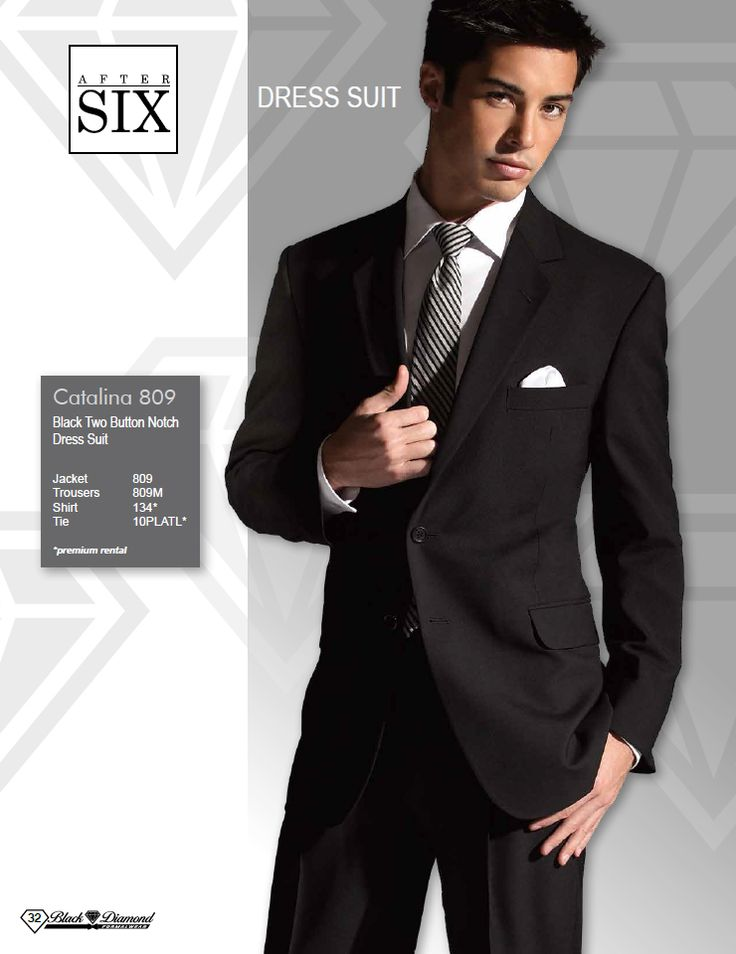 After Six Catalina Black Two Button Notch Dress Suit