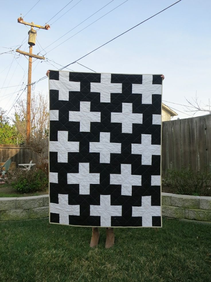 perfect plus sign quilt - modern black and white