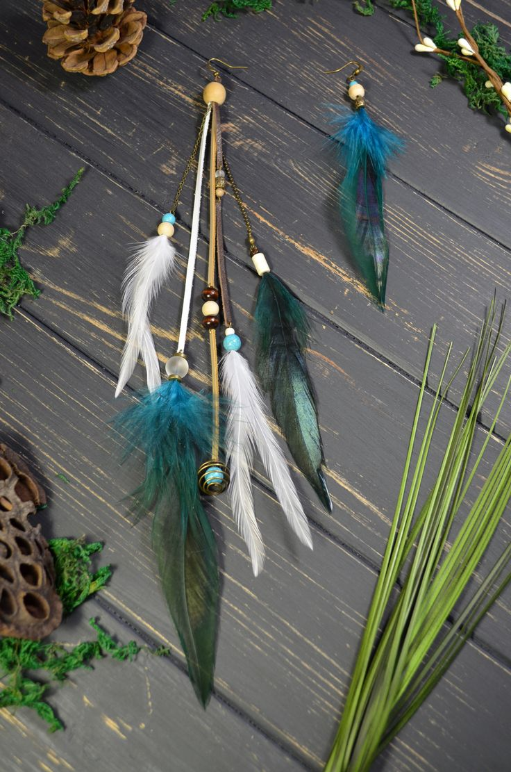 Teal feather earrings | GYPSY SOUL DARK teal emerald feather fringe boho earrings Bohemian forest green wedding outfit Burningman indian costume women Most popular