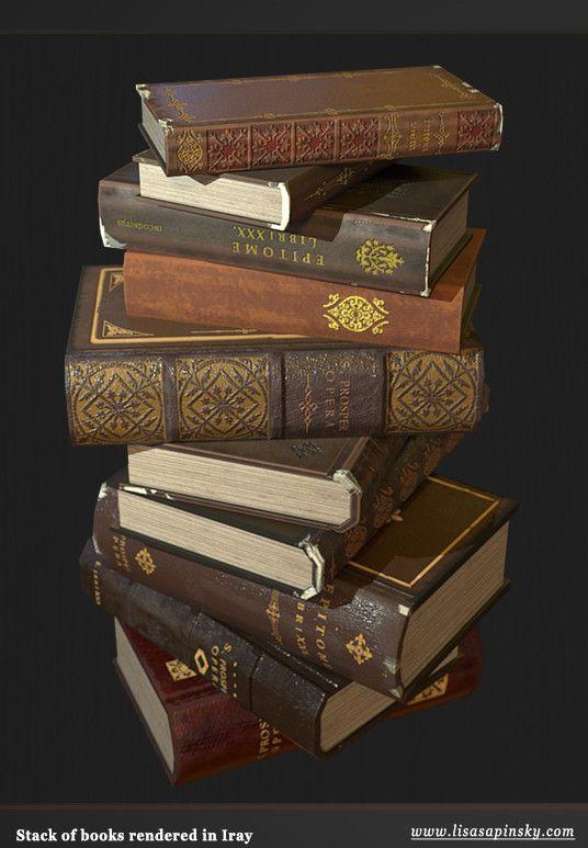Antique Books, Lisa Sapinsky on ArtStation at https://www.artstation.com/artwork/r0aq5