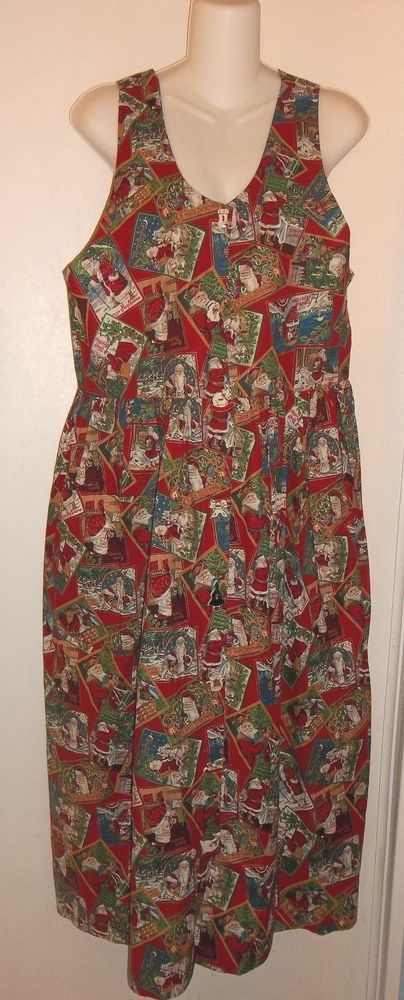 Victorian Santas Christmas jumper dress 100% cotton Medium M DOGWOOD LANE #DogwoodLane #EmpireWaist #Casual