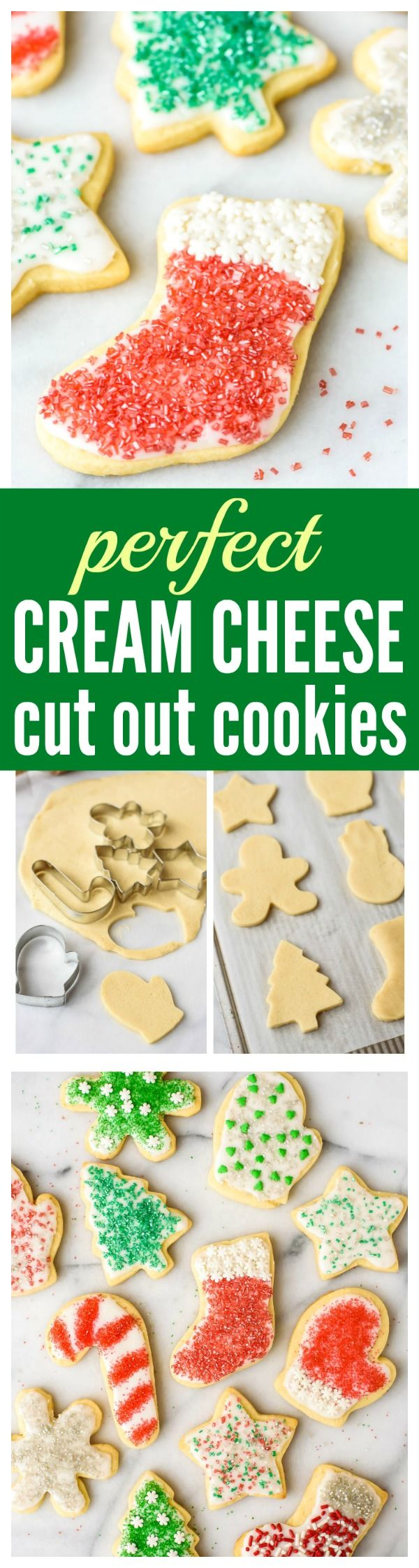 The BEST Cut Out Sugar Cookies from scratch, with step-by-step photos. Cream cheese is the secret ingredient that makes the sugar cookies super soft, even days after they are baked. This is the only cut out Christmas cookie recipe you will ever need! Recipe at wellplated.com | @wellplated