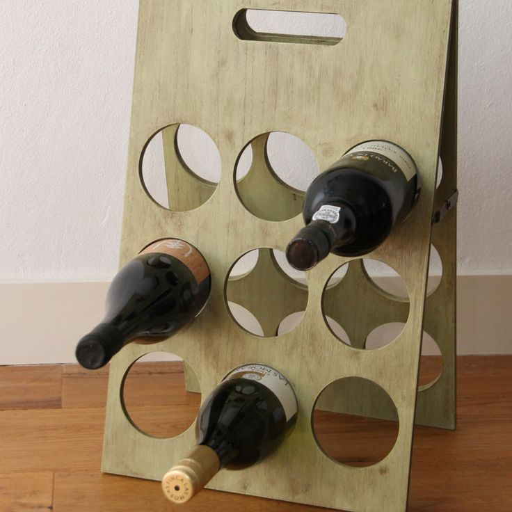 Wine rack for 18 bottles in olive green shabby chic style door KijkMaris op Etsy