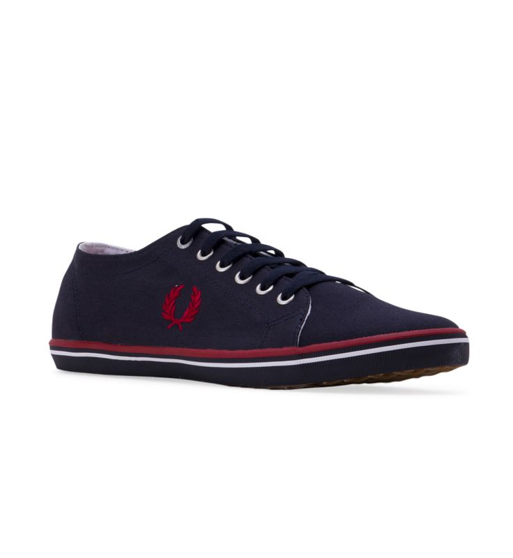 Men's FRED PERRY Kingston Twill Trainers - Navy - Go into aggressive play when you win some fashion points sporting this base-lined style.  Canvas upper.  Fred Perry laurel logo on the sides.  Lace-up with metal eyelet detail.  Double stripe detail around the welt.  Textile lining and insole.  Rubber outsole.  Imported.  Measurements:  Weight: 12 oz (B6259)