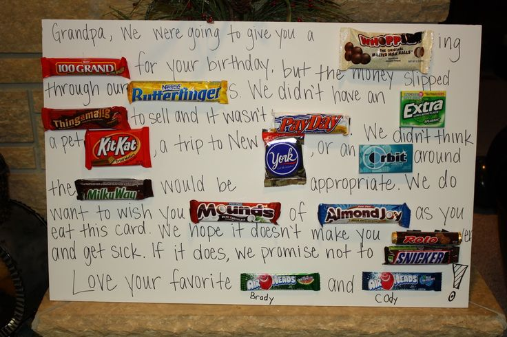 Happy Birthday Card made out of candy bars | Happy Birthday Dad