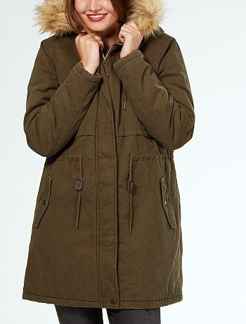 Parka chaude à capuche avec fourrure amovible                                                      beige Femme  - Kiabi