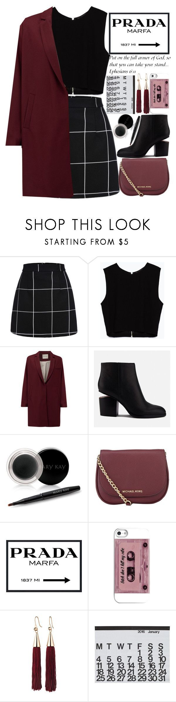 """""""Oxs Blood like/comment"""" by makfashions ❤ liked on Polyvore featuring Zara, American Vintage, Alexander Wang, Mary Kay, MICHAEL Michael Kors, Prada, Eddie Borgo, Crate and Barrel and WALL #CuteSkirts"""