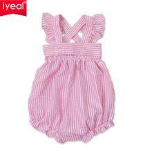 Zomer Meisje Romper Baby Pasgeboren Baby Kleding Roze Gestreepte Katoenen Bretels Mouwloze Rompertjes Suits Overall Kostuums(China (Mainland))